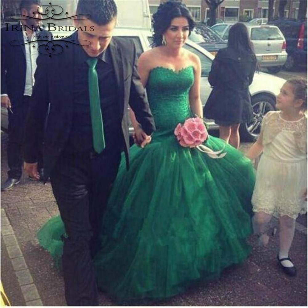 Coloful Off The Shoulder Lace Appliqued Mermaid Pearls Emerald Green  Wedding Dress In Wedding Dresses From Weddings U0026 Events On Aliexpress.com |  Alibaba ...