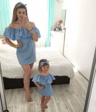 Flounce Mother Daughter Dresses Family Look Mommy and Me Clothes Mom Matching Ruffle Mini Clothing