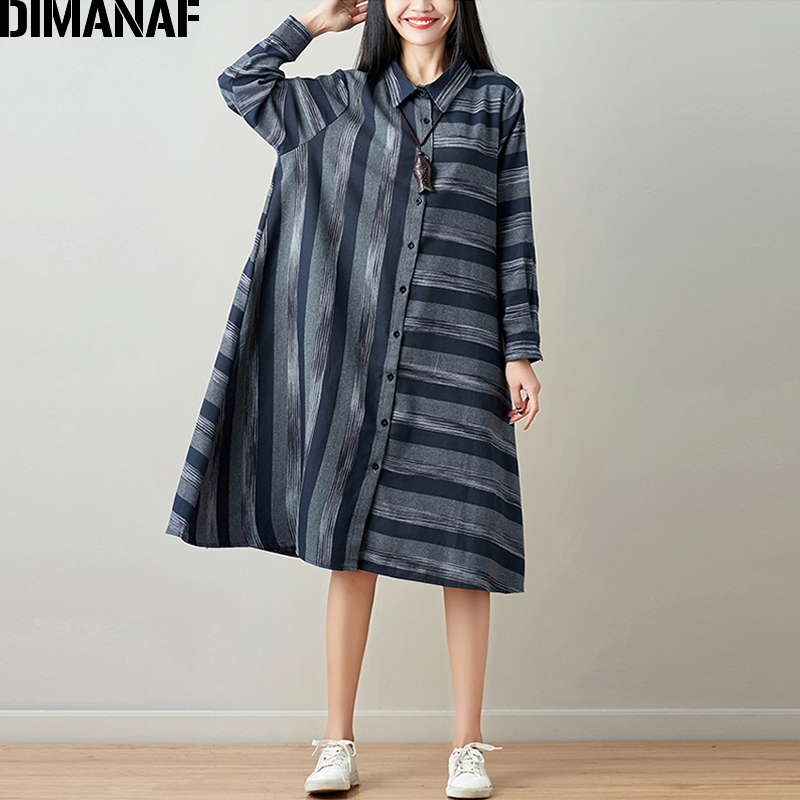 DIMANAF Women Blouse Long Sleeve Shirt Linen Autumn Plus Size Femme Striped Print Office Lady Basic Clothing Loose Cardigan 2018 2