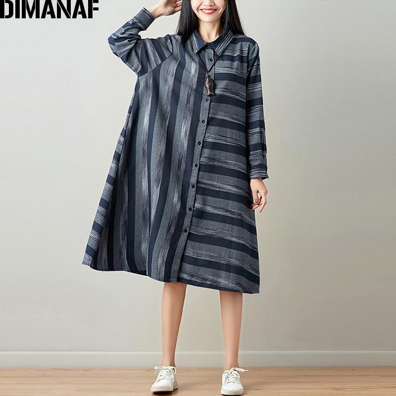 DIMANAF Women Blouse Long Sleeve Shirt Linen Autumn Plus Size Femme Striped Print Office Lady Basic Clothing Loose Cardigan 2018 2
