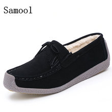 2017 Winter Fur Women Loafers Slip-on Leather Ladies Flats Warm Plush Driving Boat Shoes Women Moccasins Keep Warm Casual Shoes