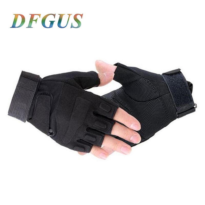 Men Military Half Finger Gloves Black Tactical Gloves Men Army Police Fighting Full Finger Guantes Ciclismo Fitness Gym Gloves Men's Gloves