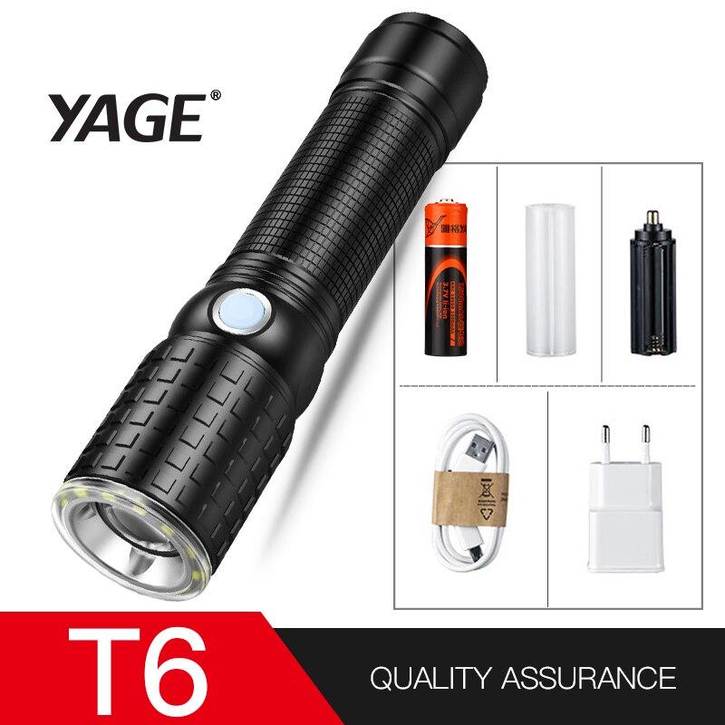 YAGE 341C Taschenlampe T6 2000LM Aluminium Zoom CREE LED Taschenlampe 18650 Lampe 6-Modi USB Taktisches Taschenlampe