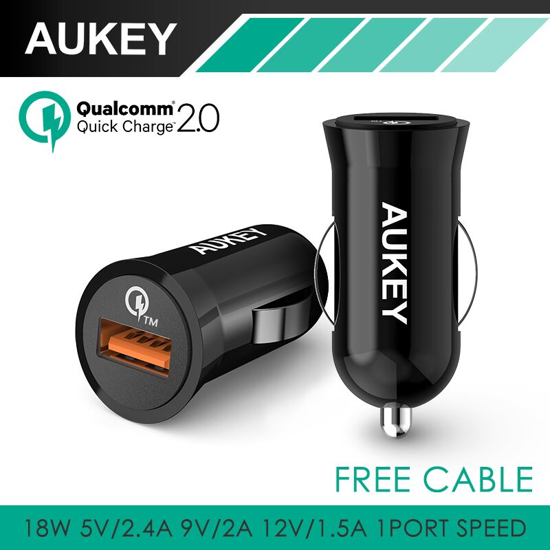 Aukey Quick Charge QC2.0 USB Car Charger Adapter for Samsung Galaxy S6 HTC M9 Nexus 6 Xiaomi Tablet PC and more Smartphone