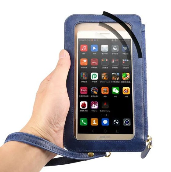 Crystal Touch Screen Cell Phone Case Pouch Shoulder Strap Hand Zipper Case For Sony Sony Xperia XA XP X Z5 Compact Z5 Premium