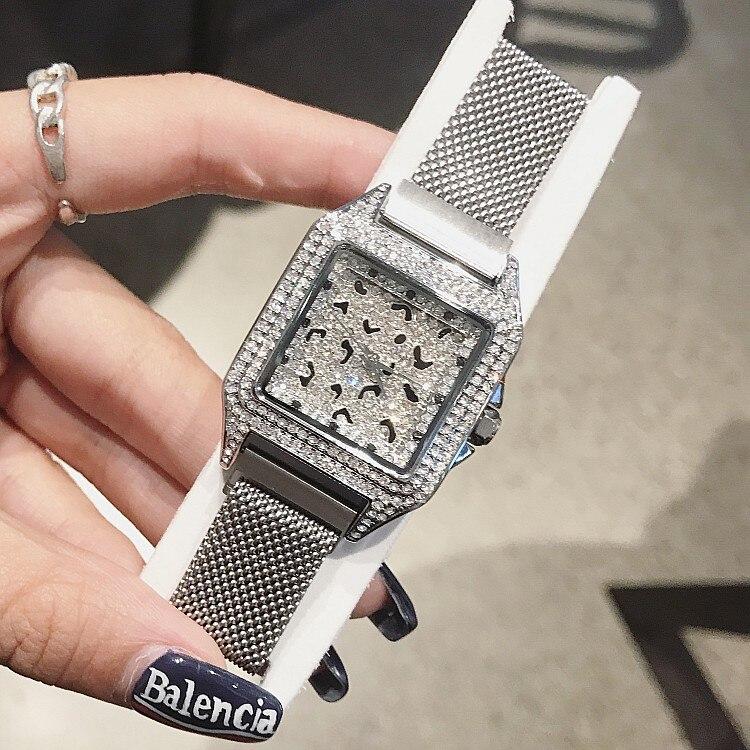 2019 luxus Marke dame Kristall Uhr Frauen Kleid Uhr Mode Rose Gold Quarz Uhr Weibliche Edelstahl Lila Armbanduhren-in Damenuhren aus Uhren bei  Gruppe 3