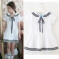 Children Girls Dresses Cotton Striped Preppy Style Kids Clothing Summer Cute Children Girls Bow Dress 3 4 5 6 7 8 9 10 11 12 14T