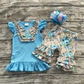 Meninas crianças verão outifts meninas verão calções roupas de bebê menina clothesgirls roupas florais com hairbows boutique