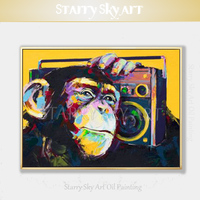 Pure Hand painted Fine Art Funny Animal Monkey Oil Painting on Canvas Funny Gorilla and Radio Picture for Wall Art Decoration