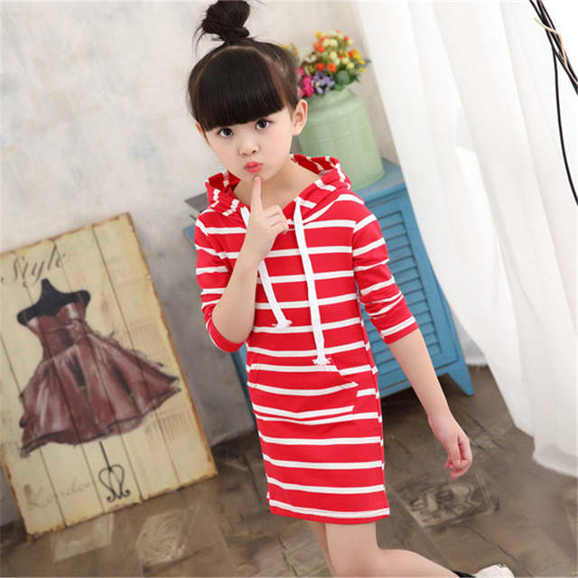 ba8c78702a67 Fashion Autumn Girl Dress Hooded Long Sleeve Kids Clothes Toddler New  Casual Children Clothing Striped Tutu