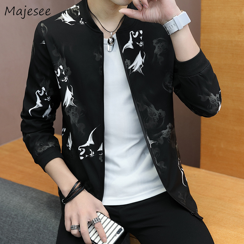 Jackets Men Stand Collar Printed Zipper Pockets Leisure Daily High Quality Hip Hop Trendy Jacket Mens Ulzzang Soft Overcoats Jackets