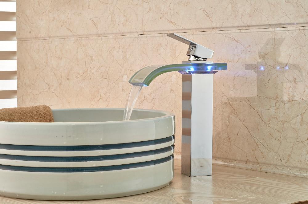 ФОТО LED Glass Waterfall Bathroom Basin Faucet Chrome Square Vanity Sink Mixer Tap