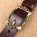 Top Quality jeans girdle Hot New Vintage Belt Woman Genuine Leather Cow skin strap Fashion Floral Buckle Belts For Women