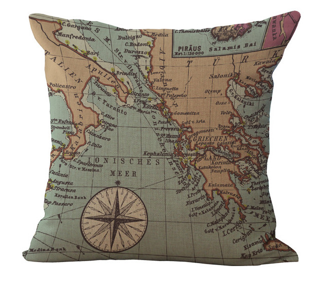 Online Shop Map Balkan Italian Mediterranean Greece Aegean Sea Emoji Custom Italian Decorative Pillows