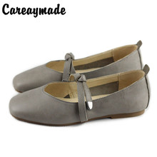 Careaymade-New Retro Literature Art Fan Flat-soled Shoe Head layer Cowhide Womens Square-headed Single Shoes,Grey&Black