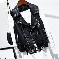 4XL PU Leather Vest Women Casual Sleeveless Waistcoat Female Plus Size Vest Jacket Women Coat Zipper Ladies Leather Vest Q1628