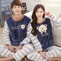 Winter Pajama Sets Women Thick Warm Coral Velvet Pajamas Flannel Long Sleeve Female Cartoon Bears Striped