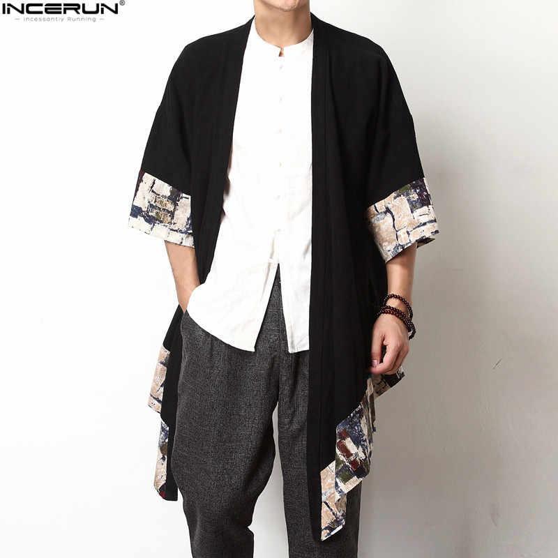 2019 プラスサイズのメンズファッションロング生き抜くシャツ中国風のヴィンテージ半袖不規則な男性トレンチスタイリッシュなカジュアル