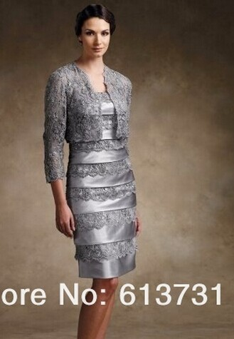 Custom-made Vestido De Madrinha 2016 New Gorgeous Sexy Free Shipping Mother Of The Bride Lace Dresses With Jacket Knee Length