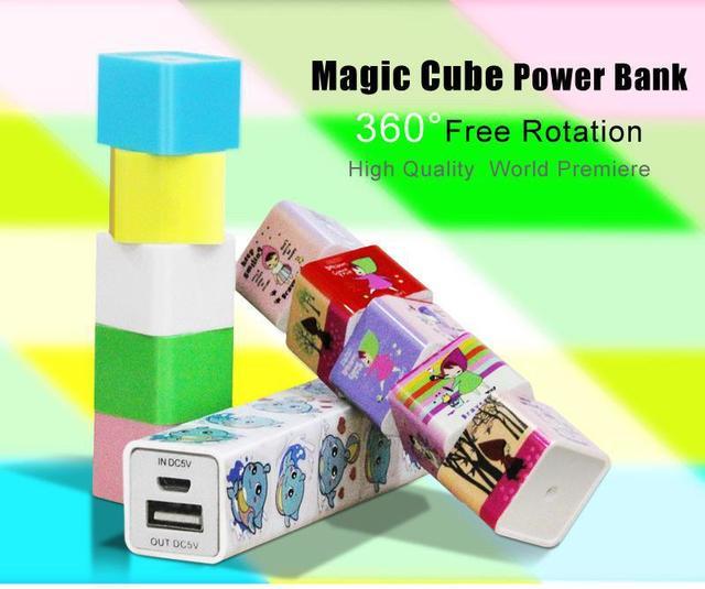 Original Girar Cubo Mágico de la Energía Bank 2600 mAh capacidad Genuina, Cargador de la Energía Móvil de Reserva de 360 grados de rotación libre de Cubo Mágico