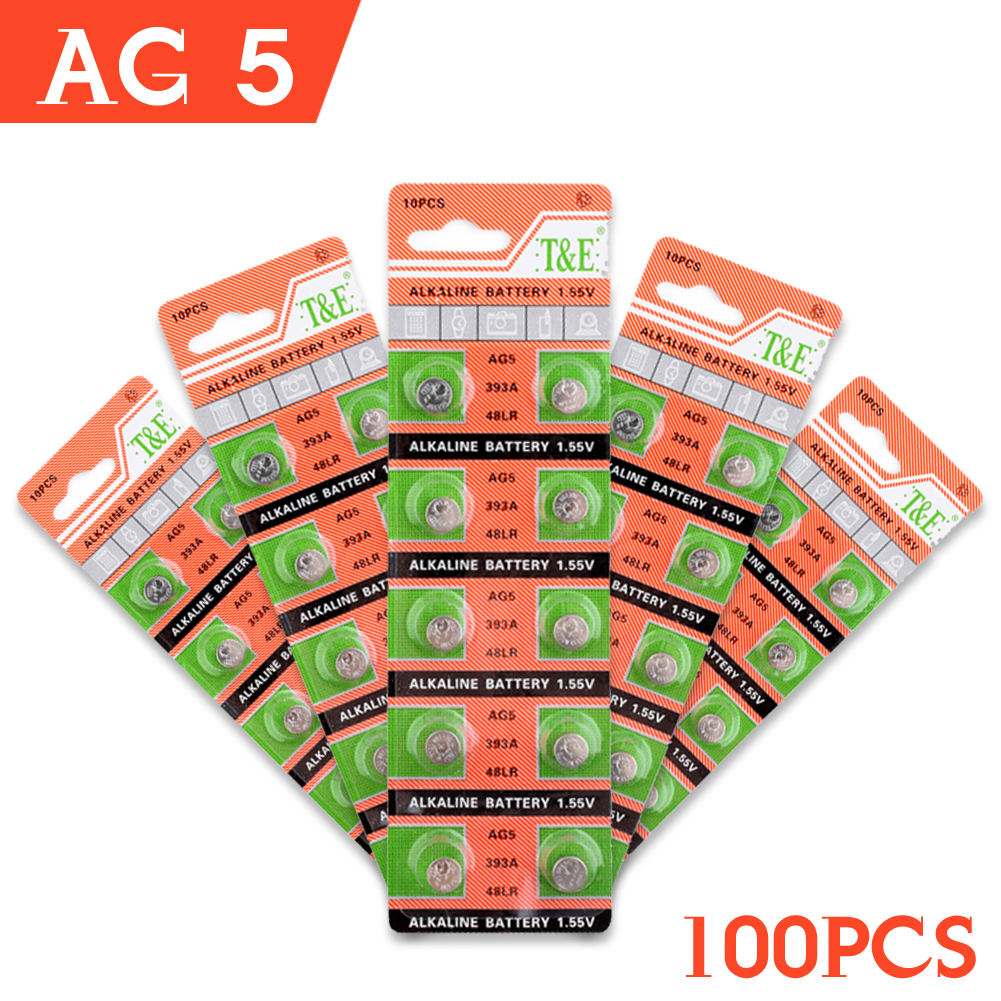 49%off Sale AG5 10pack=100Pcs/lot Alkaline Button Cell Batteries For Toy Watch 60mAh 1.5V ZN/MNO2 LR48 LR193 LR754 pilas buton