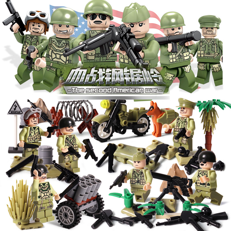 Oenux New Arrival 6PCS WW2 The Pacifice War Of Hacksaw Ridge Military Building Block Set USA Army Soldiers Figures MOC Kids Toy new 12pcs ancient toy soldiers