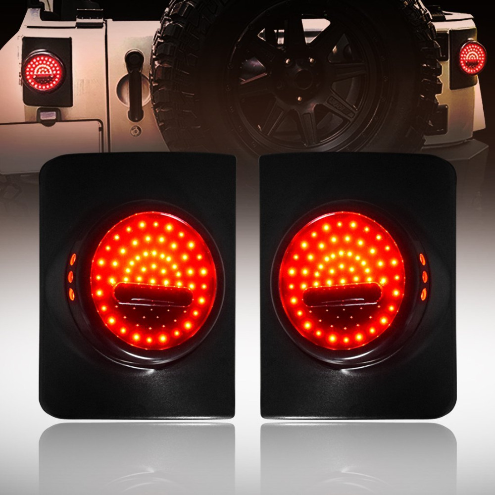Round Tail Lights for Jeep Wrangler JK 2 Door and 4 Door 2007 2008 2009 2010 2011 2012 2013 2014 2015 2017-Pair vland led tail lights for cadillac escalade esv 2007 2008 2009 2010 2011 2012 2013 2014 led tail light rear lamp