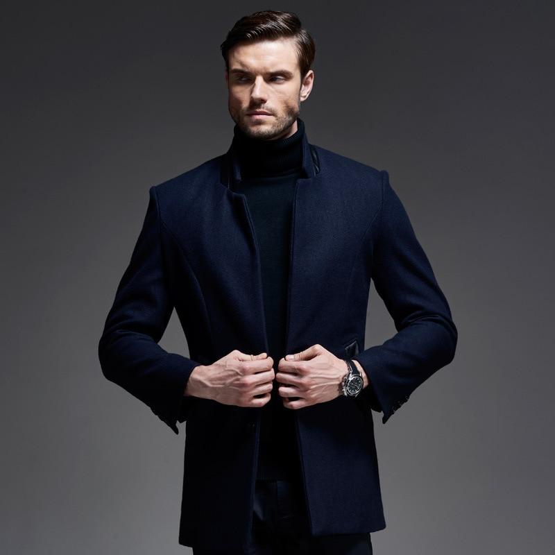 Hommes Noir bleu Casual Peacoat Veste Taille M-3xl 2017 Mode stand Col Hiver Laine Manteau Hommes