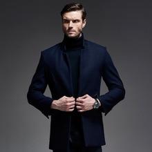 Мужчины Черный синий Повседневная Peacoat Куртка Размер M-3xl 2017 Мода стенд Воротник Зимняя Шерсть Пальто Мужчины