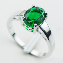 Simulated Emerald 925 Sterling Silver Ring Size 5 6 7 8 9 10 11 12 PR03(China)