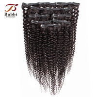 Bobbi Collection Clip In Human Hair Extensions Afro Kinky Curly Human Hair Full Head 7Pcs/set Natural Color Indian Remy Hair