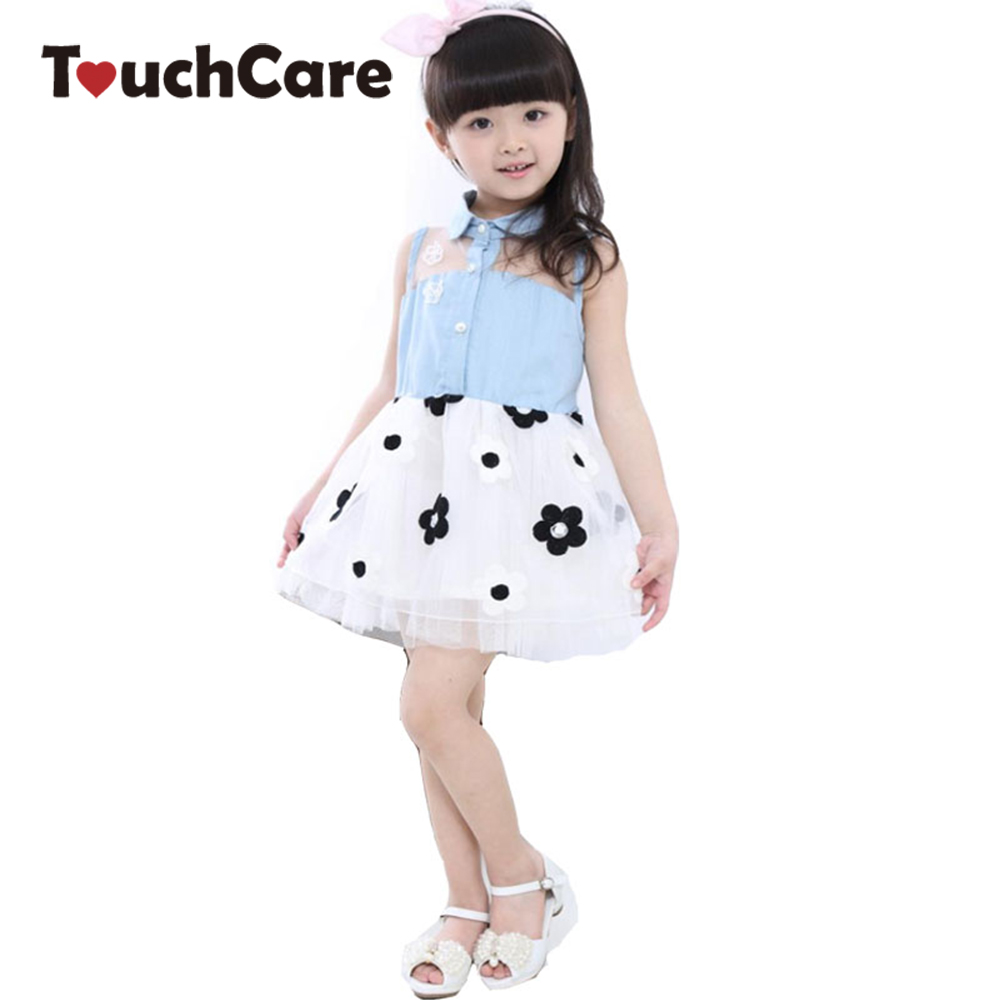 Clearance Baby Girl Kids Princess Fashion Denim Dress Floral TuTu Sweety Style Dress Kids Clothes Girl Lace Vestidos Party Dress