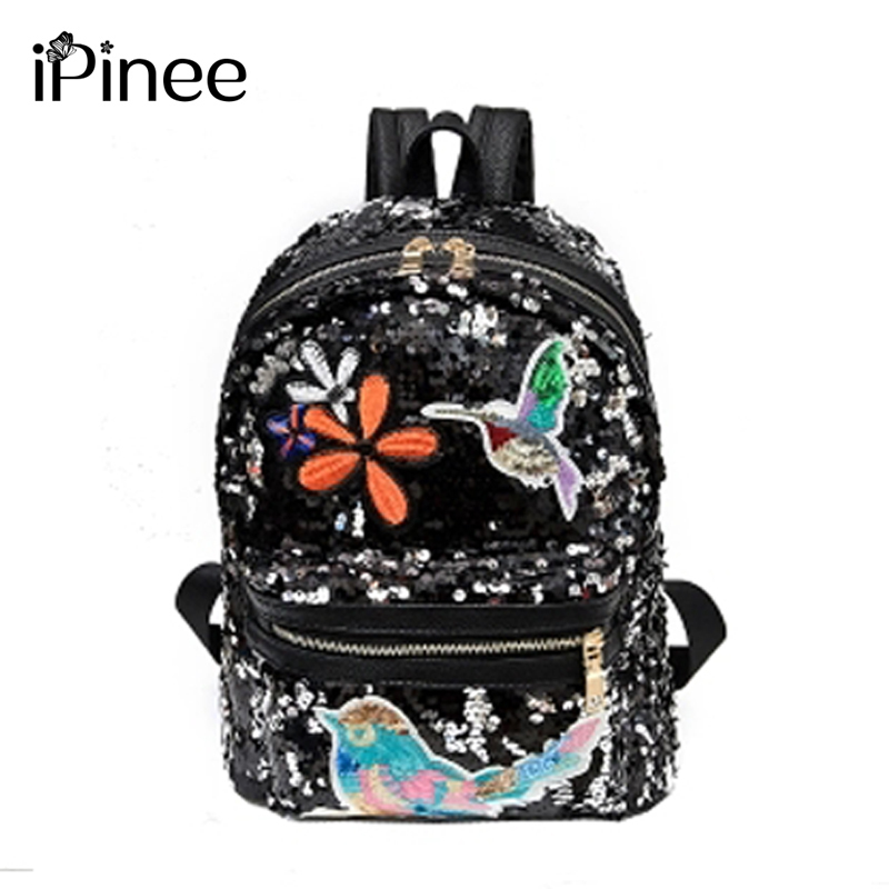 Paillette Both Shoulders Package Woman New Pattern Hit Color Woman Package Flower Embroidery Travel School Wind A Bag