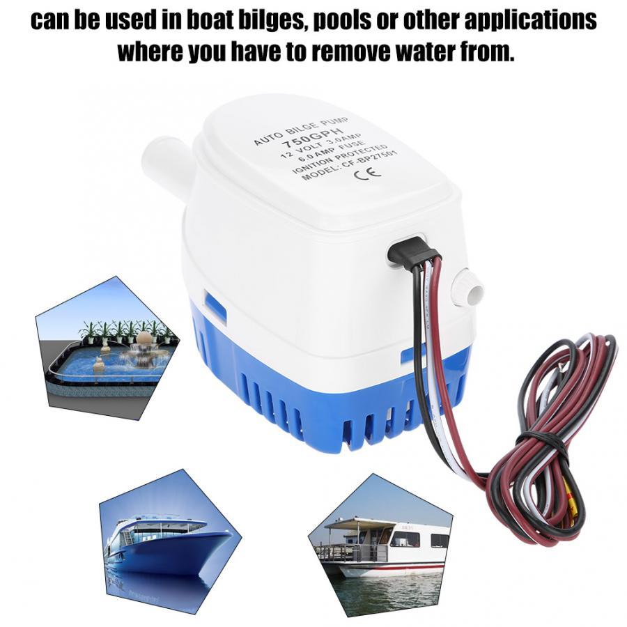 TiooDre Pompe /à eau automatique de cale pompe /à eau automatique submersible automatique marine de cale du bateau 1100GPH 12V