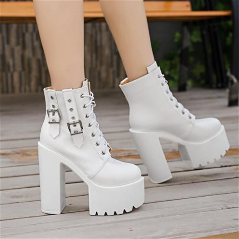 European style fashion personality women's boots thick with super high heels 2019 new 14cm short female shoes Martin women boots