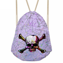 Vintage Women Men Drawstrings Bags 3D Colorful Skull Skeleton Head Printed Girls Backpacks Travel Pocket Storage BagSumka