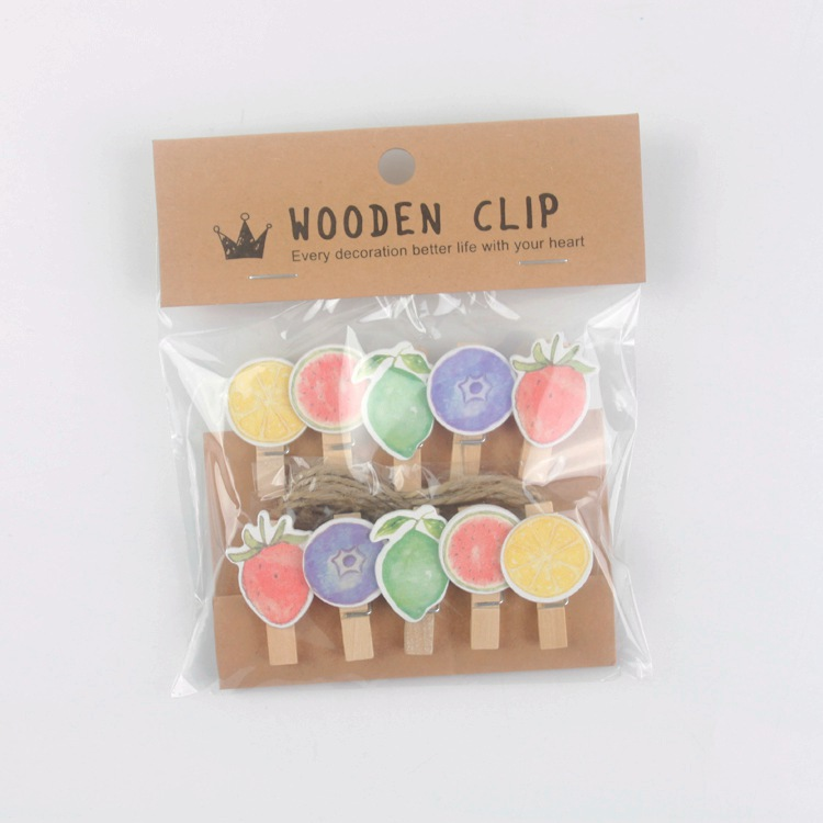Original 10 Pcs/lot Colourful Fruit Wooden Clip Photo Paper Clothespin Craft Clips Party Decoration Clip With Hemp Rope With A Long Standing Reputation Clips