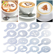 16PCS set Plastic Cafe Foam Spray Template Barista Stencils Decoration Tool Garland Mold Fancy Coffee Printing Flower Model