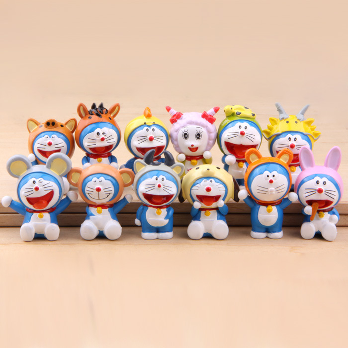 12 Pcs/set Anime Doraemon Chinese Zodiac Animals model PVC Action Figure Toys Collectible dolls for Children's gift 6pcs set anime cartoon cute egg doraemon mini pvc action figure toys dolls 4 6cm of079