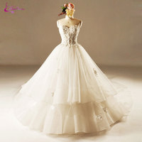 Waulizane Charming Organza Sleeveless Princess Wedding Dresses Delicate Beaded Crystals Tiered Chapel Train Lace Up Bride