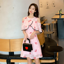 EAD Fashion O Neck Flower Embroidery Women Summer Elegant Dress Good Quality Off Shoulder Sexy Party Pink Ladies Vestido