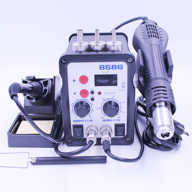 8586 Hot Air Soldering Station LED Digital 2 in 1 SMD ESD Solder Iron Heat Air Gun Desoldering Rework Station With Free Gifts Electric Soldering Irons