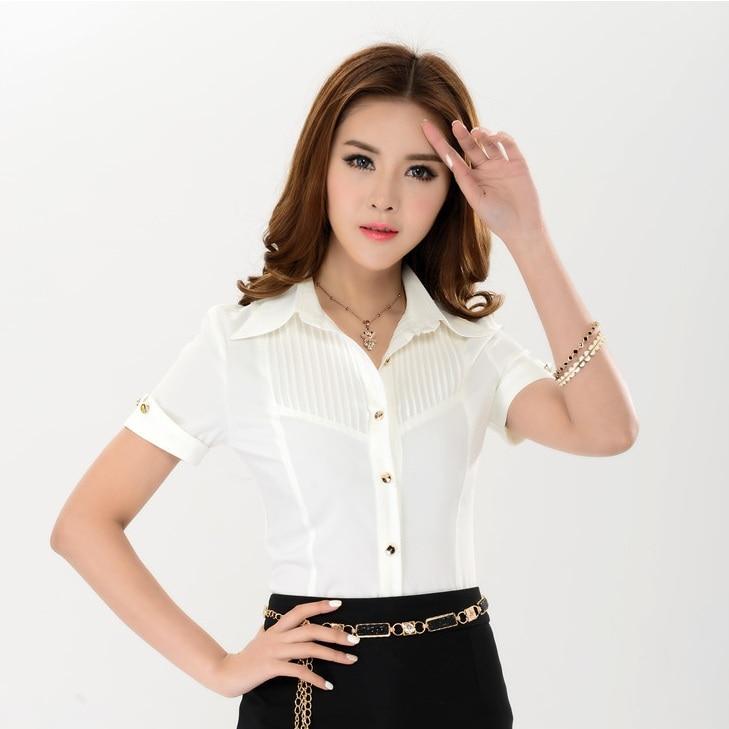 Nuevo 2015 moda verano mujer camisas blancas de manga
