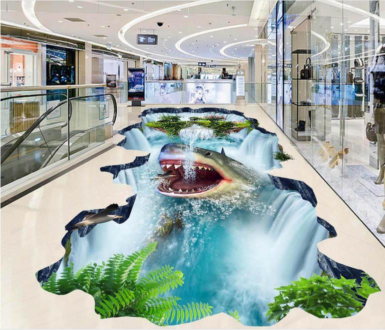 3d floor pvc self adhesive wallpaper custom 3d floor wallpaper Shark falls 3d flooring living room 3d wallpaper