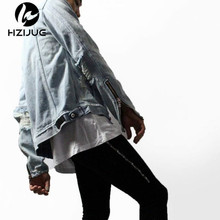 2016 New Fashion Streetwear Jean Mens Jackets And Coats Men Clothes Latex Hip Hop Zipper Ripped Distressed Denim Jacket M-XL