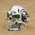 Brand LINSION Solid 925 Sterling Silver Titan Skull Green CZ Stone Eyes Mens Biker Rocker Punk Ring 8V205 US Size 7~15