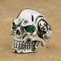 Marca LINSION Titan Cráneo Verde Sólido 925 Plata Esterlina CZ Ojos de piedra Hombre Del Motorista Rocker Anillo Punky 8V205 Tamaño EE. UU. 7 ~ 15
