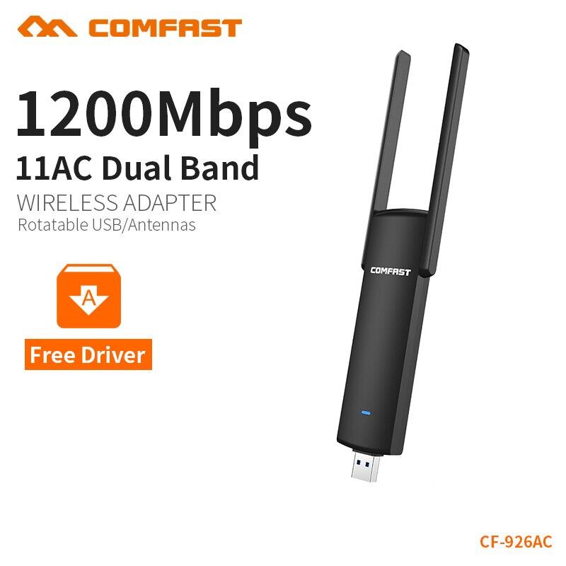 COMFAST 1200mbps wifi adapter plug & play 802.11ac/b/g/n 5.8ghz wi-fi dongle AC Network Card USB antenna Ethernet CF-926AC V2