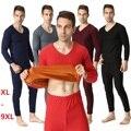 Размер XL-9XL 2016 осенью и зимой мужской утолщаются тепловой underwear мужчины лонг джонс золото бархат супер-мягкие V-образным Вырезом теплый костюмы