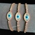 Rose Gold Plated Marquise Evil Eye Mother of Pearl Adjustable Bracelet Turkish Evil Eye Bracelet